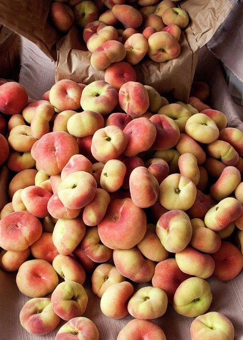 Retail Greeting Card featuring the photograph Box Of Donut Peaches At A Farmers Market by Bill Boch
