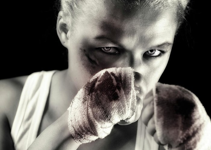 Toughness Greeting Card featuring the photograph Boxing Girl by ...