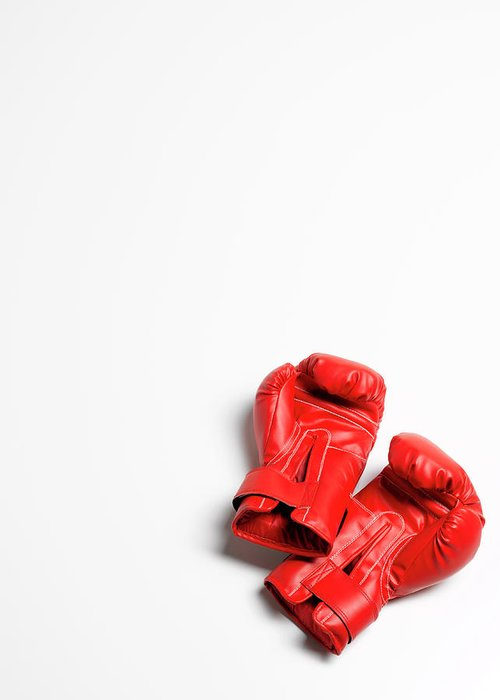 The End Greeting Card featuring the photograph Boxing Gloves On White Background by Peter Dazeley