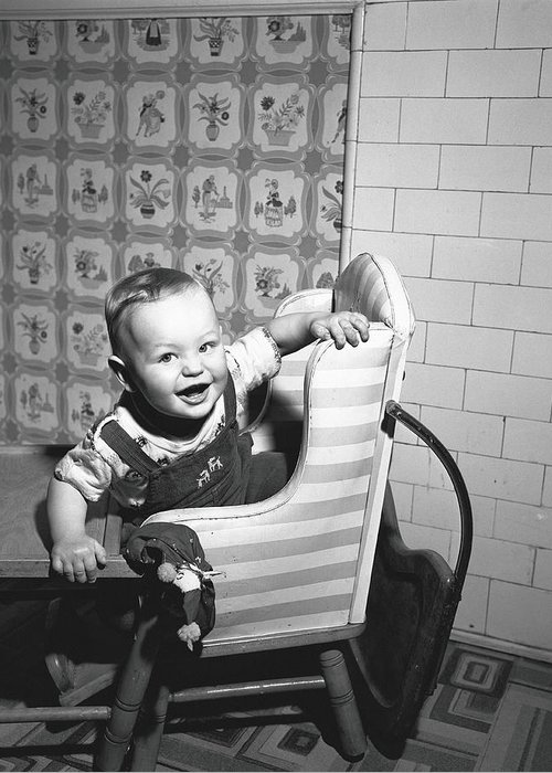 Child Greeting Card featuring the photograph Boy 2-3 Sitting In High Chair, B&w by George Marks