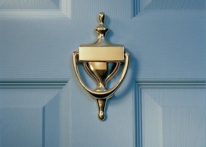 Brass Greeting Card featuring the photograph Brass Door Knocker On Front Door by Gk Hart/vikki Hart