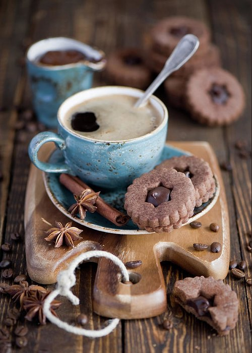 Breakfast Greeting Card featuring the photograph Breakfast Coffee And Chocolate Cookies by Verdina Anna