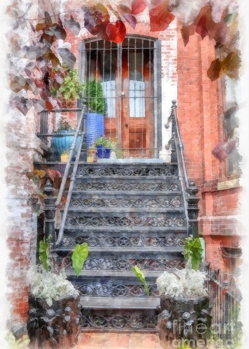Stairs Greeting Card featuring the digital art Brick Townhouse Walkup Watercolor by Edward Fielding