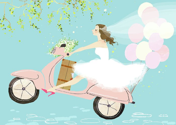 People Greeting Card featuring the digital art Bride On Scooter by Eastnine Inc.