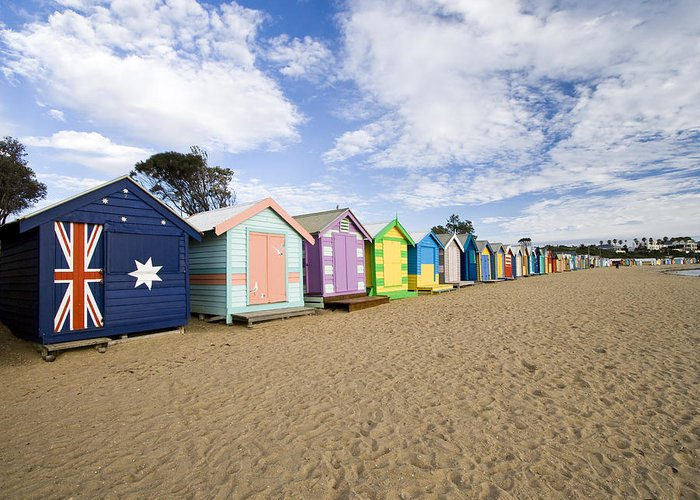 Steps Greeting Card featuring the photograph Brighton Beach Huts by Samvaltenbergs