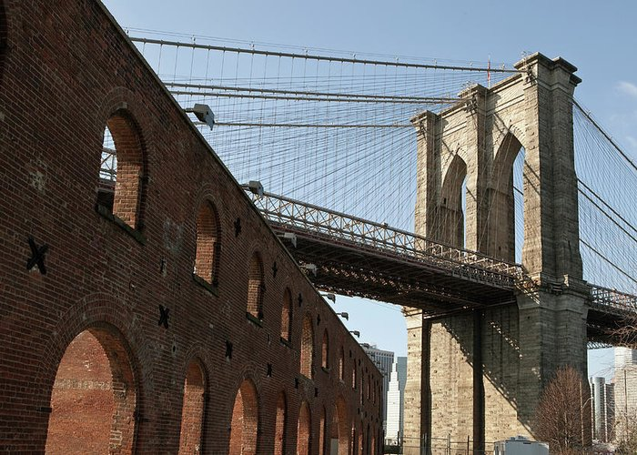 Arch Greeting Card featuring the photograph Brooklyn Bridge & Empire Fulton Ferry by Just One Film