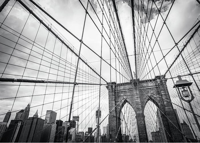 Downtown District Greeting Card featuring the photograph Brooklyn Bridge And New York Skyline by Cirano83