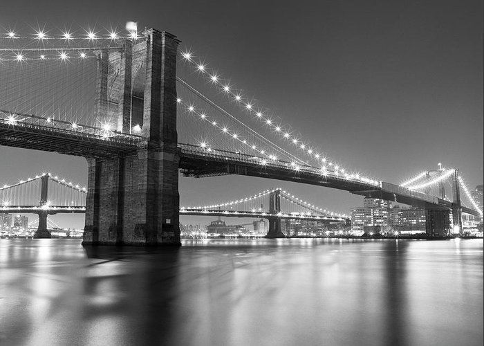 Scenics Greeting Card featuring the photograph Brooklyn Bridge At Night by Adam Garelick