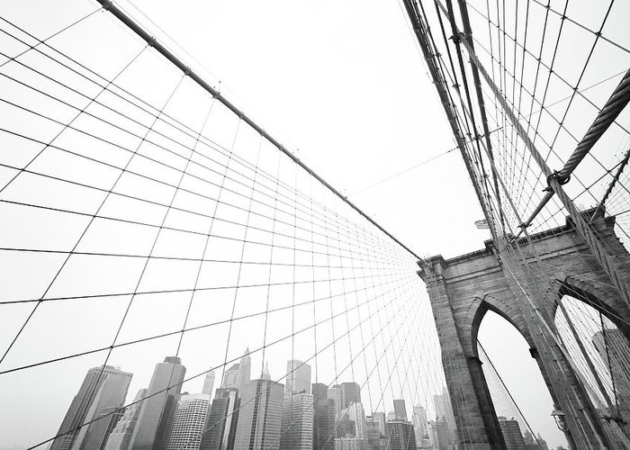 Wire Greeting Card featuring the photograph Brooklyn Bridge Cityscape by Digi guru