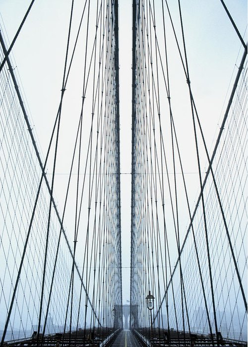 Suspension Bridge Greeting Card featuring the photograph Brooklyn Bridge by Eric O'connell
