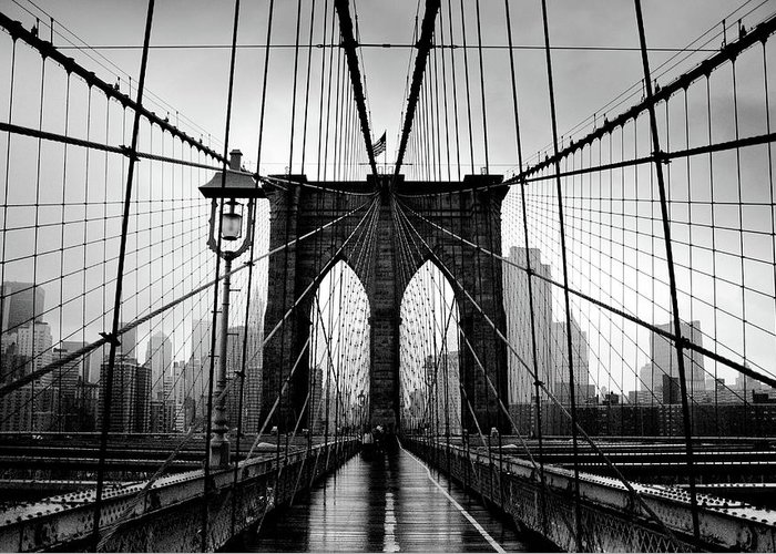 Clear Sky Greeting Card featuring the photograph Brooklyn Bridge by Serhio.com Photography By Sergei Yahchybekov