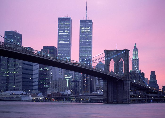 Dawn Greeting Card featuring the photograph Brooklyn Bridge, Twin Towers, Nyc, Ny by Barry Winiker