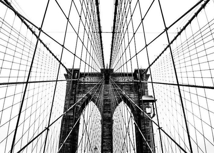 Brooklyn Greeting Card featuring the photograph Brooklyn Bridge Web by Nicklas Gustafsson