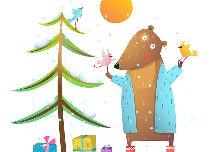 Gift Greeting Card featuring the digital art Brown Bear Wearing Warm Winter Coat by Popmarleo