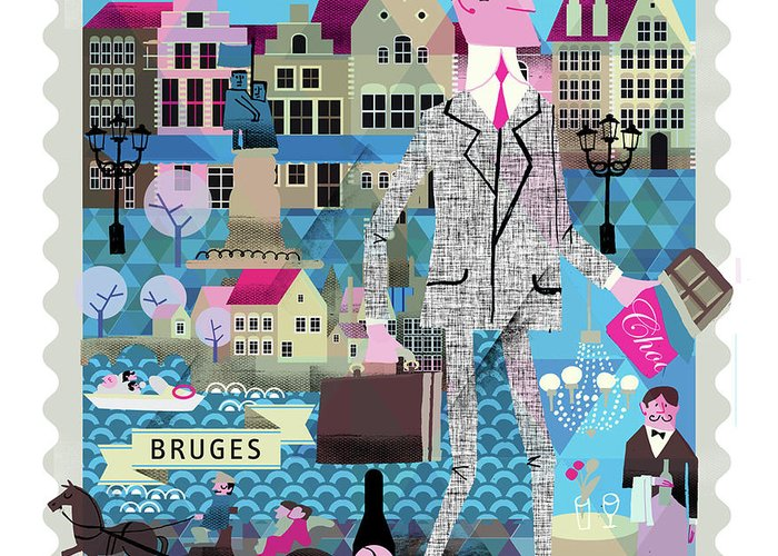 Belgium Greeting Card featuring the digital art Bruges by Luciano Lozano