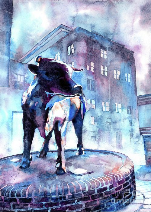 Art For House Greeting Card featuring the painting Bull Of Durham by Ryan Fox