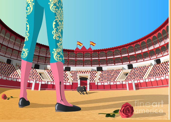 Crowd Greeting Card featuring the digital art Bullfighter Versus Angry Bull In Arena by Nikola Knezevic