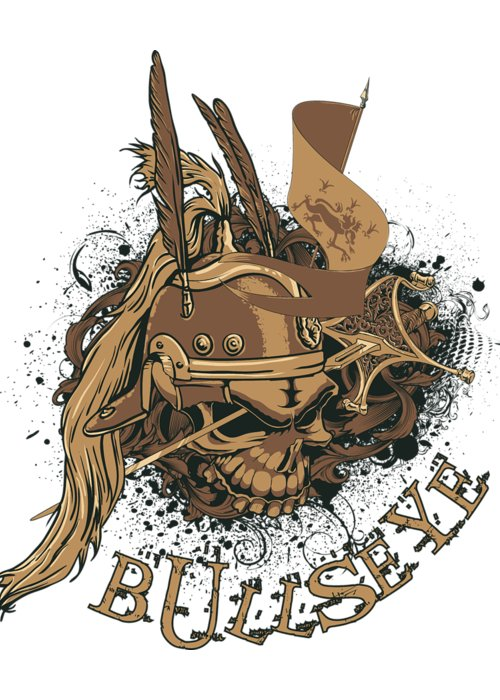 Halloween Greeting Card featuring the digital art Bullseye by Passion Loft