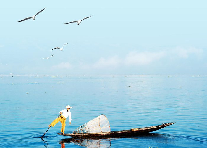 Canoe Greeting Card featuring the photograph Burma Myanmar Inle Lake Traditional by Banana Republic Images