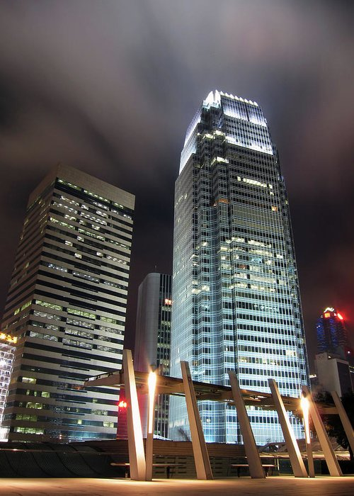Expertise Greeting Card featuring the photograph Business Buildings In Hong Kong At Night by Bluekite