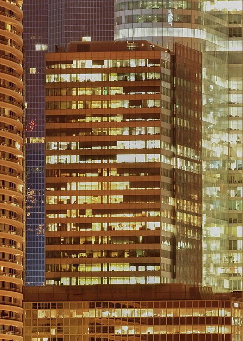 Tranquility Greeting Card featuring the photograph Business District At Evening by Christian Jacquet