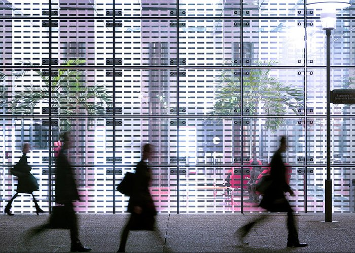 People Greeting Card featuring the photograph Business People Passing Modern Office by Eschcollection