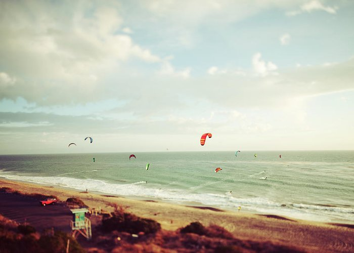 California Greeting Card featuring the photograph California Tilt Shifted Kite Surfers by Kevinruss