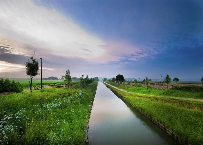 Scenics Greeting Card featuring the photograph Canal De Lourcq - Precy Sur Marne - by © Nicolas Gaire