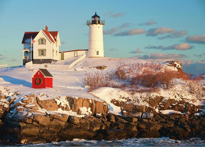 Snow Greeting Card featuring the photograph Cape Neddick Nubble Light by Kickstand