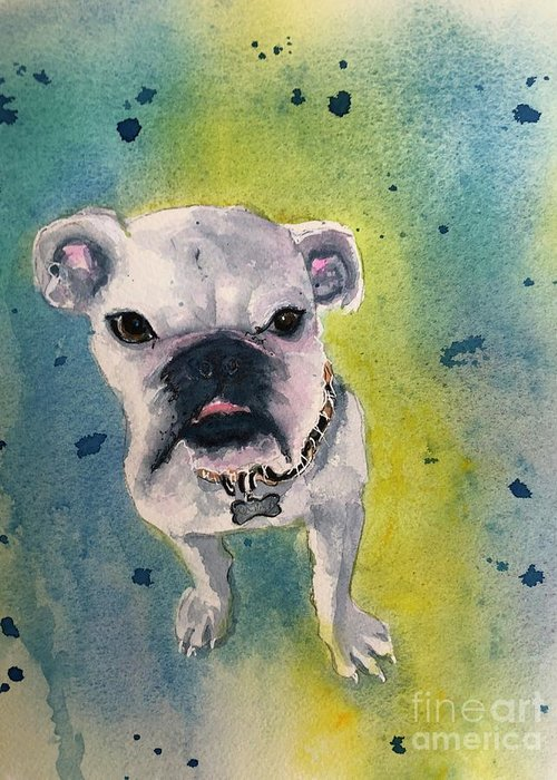 English Bulldog Greeting Card featuring the painting Captain by Midge Pippel