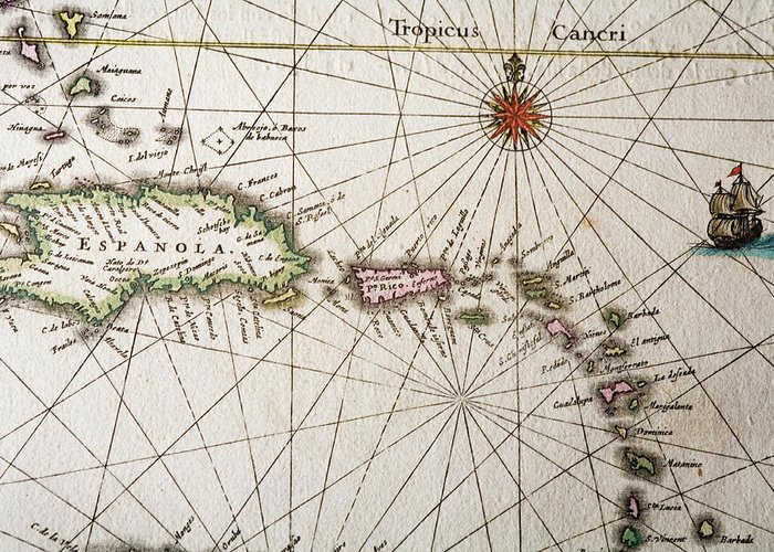 Engraving Greeting Card featuring the digital art Carribean Islands by Goldhafen