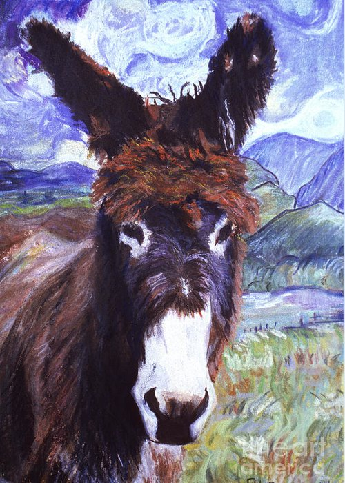 Burro Greeting Card featuring the painting Carrot Top by Pat Saunders-White