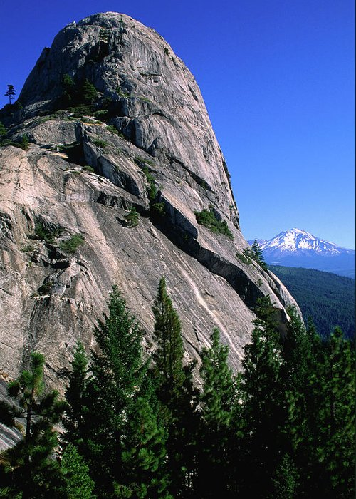 Toughness Greeting Card featuring the photograph Castle Crags With Mt Shasta In by John Elk Iii