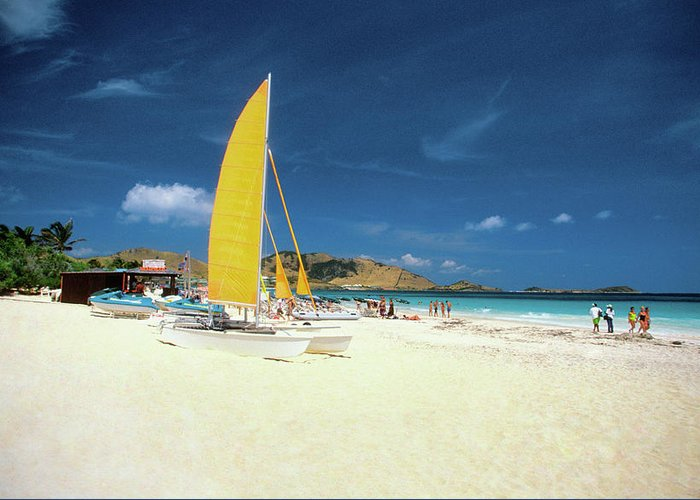 Orient Beach Greeting Card featuring the photograph Catamarans And People On Martin Orient by Medioimages/photodisc
