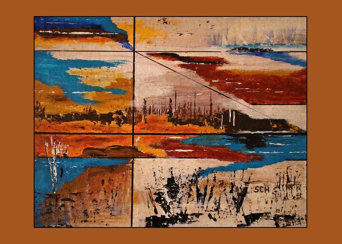 Abstract Greeting Card featuring the painting Catch A Ride To The End Of The Highway by Scott Haley