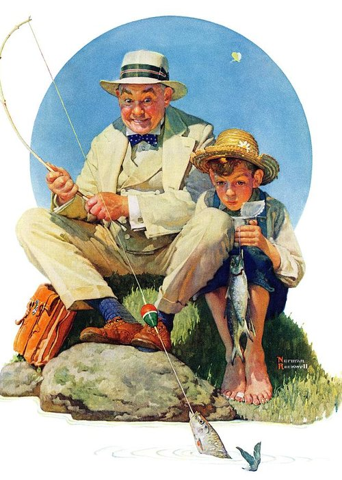 Boy Greeting Card featuring the drawing Catching The Big One by Norman Rockwell