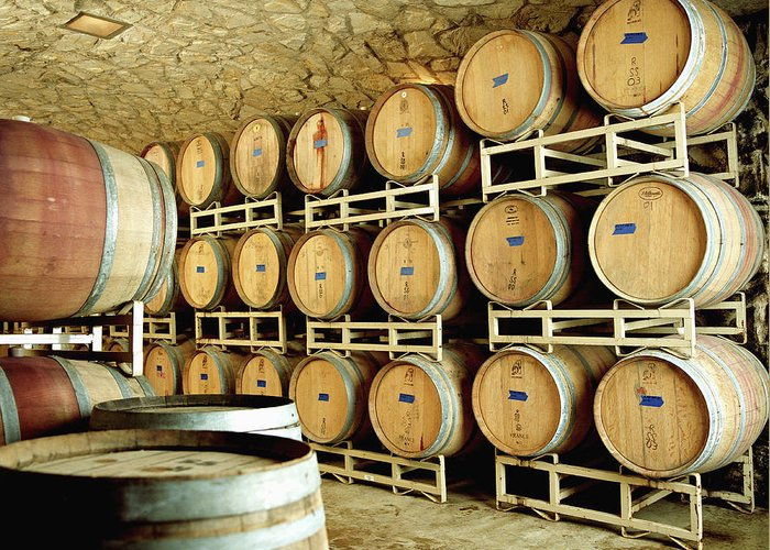 Aging Process Greeting Card featuring the photograph Cellar In Winery by Siri Stafford