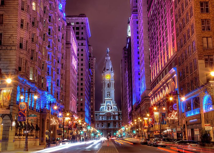 Land Vehicle Greeting Card featuring the photograph Center City Philadelphia by Eric Bowers Photo