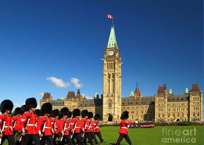 Symbol Greeting Card featuring the photograph Changing Of The Guard Ceremony On by Rambleon
