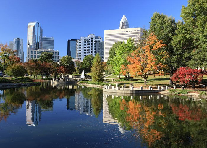 North Carolina Greeting Card featuring the photograph Charlotte Skyline And Pond, North by Jumper