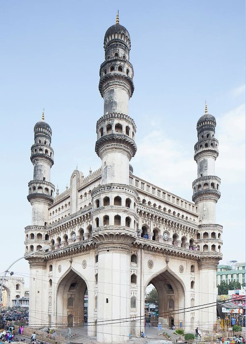 Arch Greeting Card featuring the photograph Charminar Monument In Hyderabad by Jasper James
