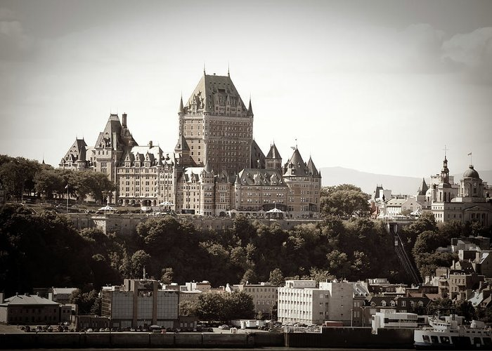 Copper Greeting Card featuring the photograph Chateau Frontenac From Levis, Quebec by Onfokus