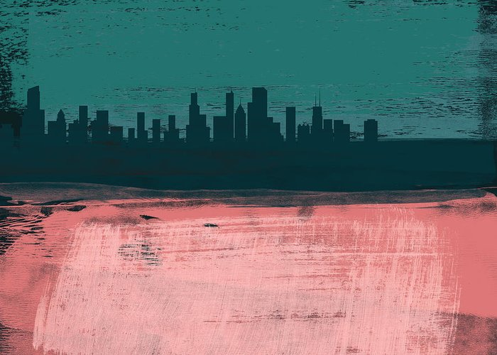 Chicago Greeting Card featuring the mixed media Chicago Abstract Skyline II by Naxart Studio