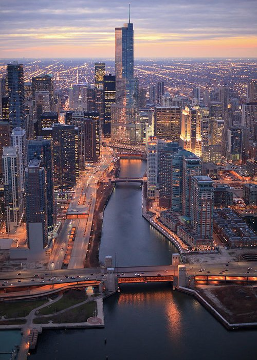 Tranquility Greeting Card featuring the photograph Chicago Downtown - Aerial View by Berthold Trenkel