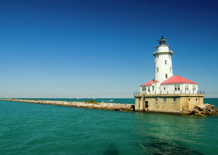 Lake Michigan Greeting Card featuring the photograph Chicago Harbor Lighthouse by Chrisp0