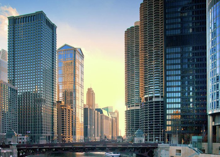Chicago River Greeting Card featuring the photograph Chicago River by Photography By Aurimas Adomavicius