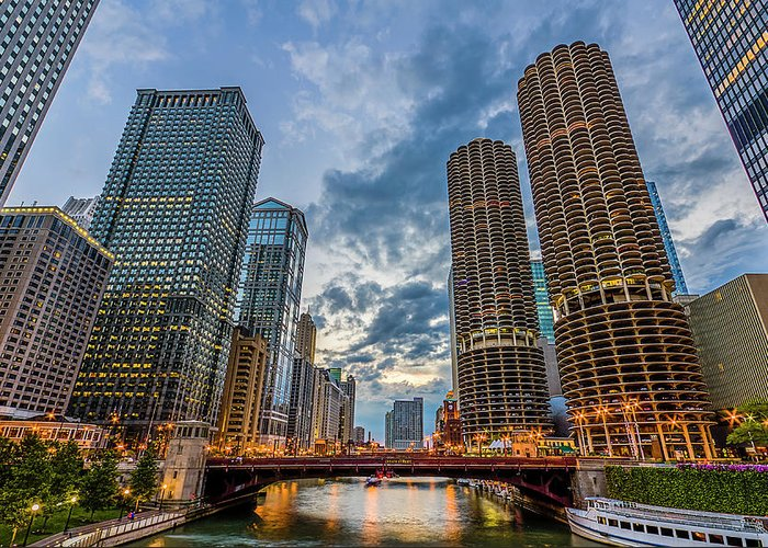 Chicago River Greeting Card featuring the photograph Chicago River Sunset by Carl Larson Photography