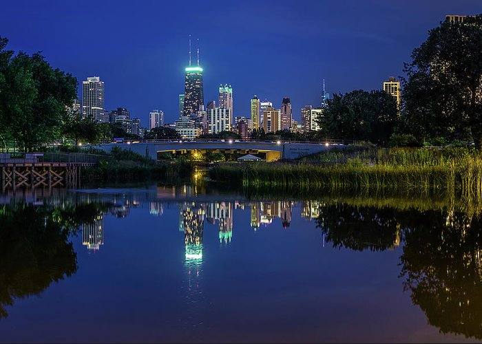 Chicago River Greeting Card featuring the photograph Chicago Skyline From Lincoln Park by Carl Larson Photography
