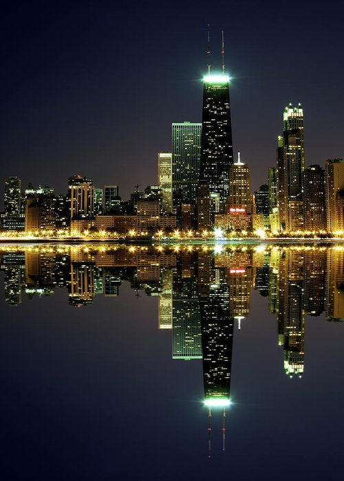 Lake Michigan Greeting Card featuring the photograph Chicago Skyline Reflected On Lake by Pawel.gaul
