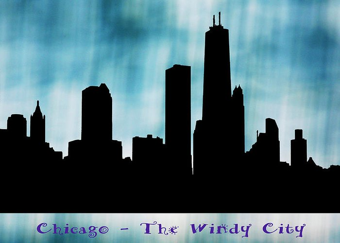 Skyline Greeting Card featuring the digital art Chicago The Windy City by Marilyn Hunt